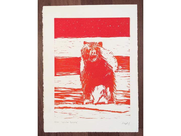orange sun grizzly bear