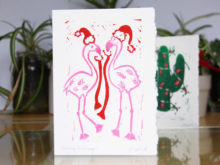 chistmas flamingo with stockings