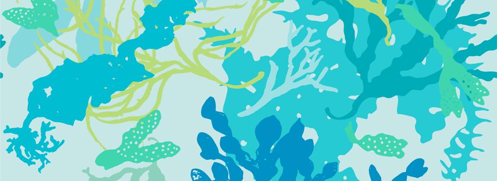 botanical beach seaweed fabric design