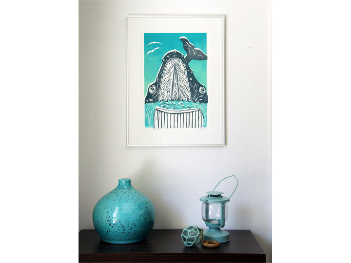 super big gulp nautical baleen whale print