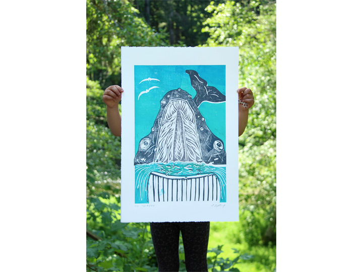 super big gulp origina linocut whale blockprint