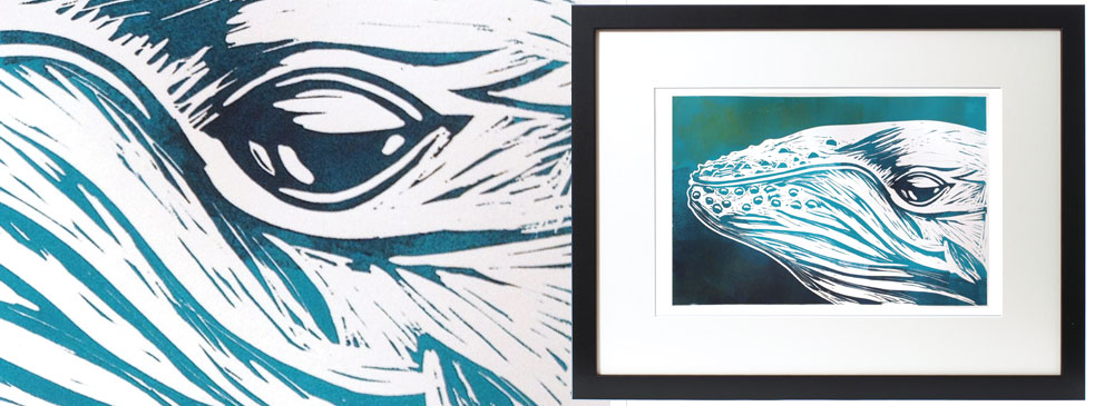 up close humpback whale portrait linocut