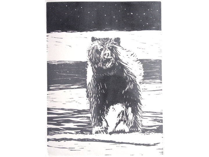 winter grizzly bear linocut