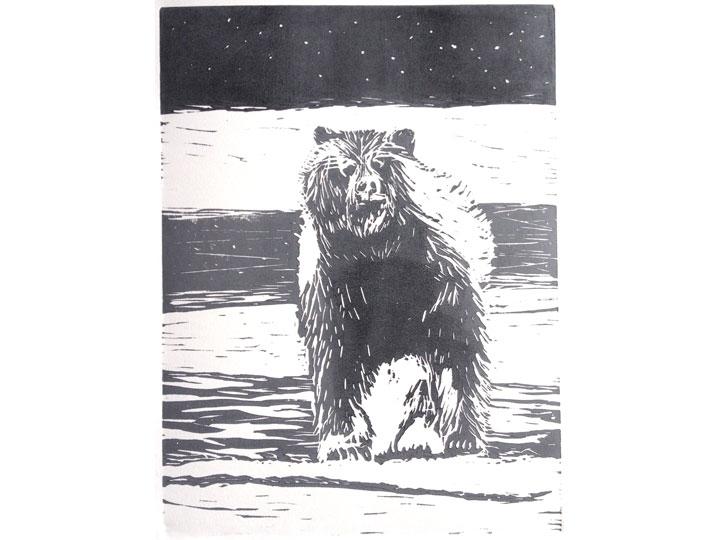winter grizzly bear linocut
