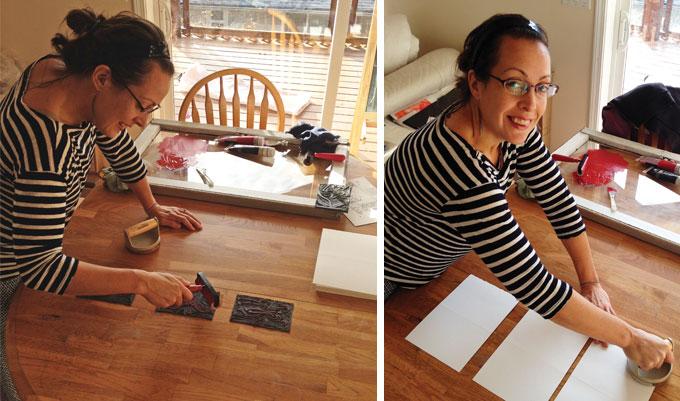 linocut printing process aldea wood