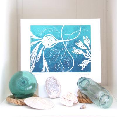 kelp twirl botanical seaweed art print