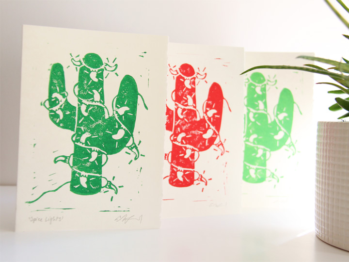 chile light cactus card