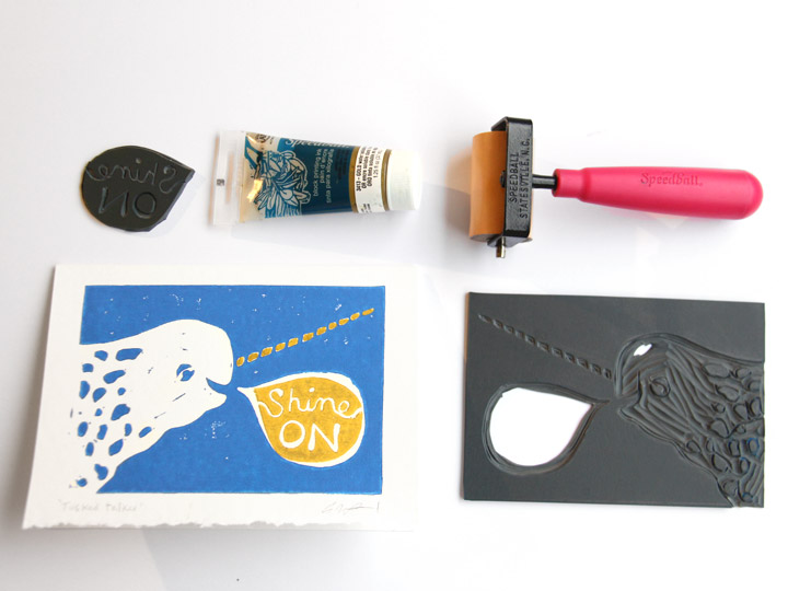 narwhal card linocut tools