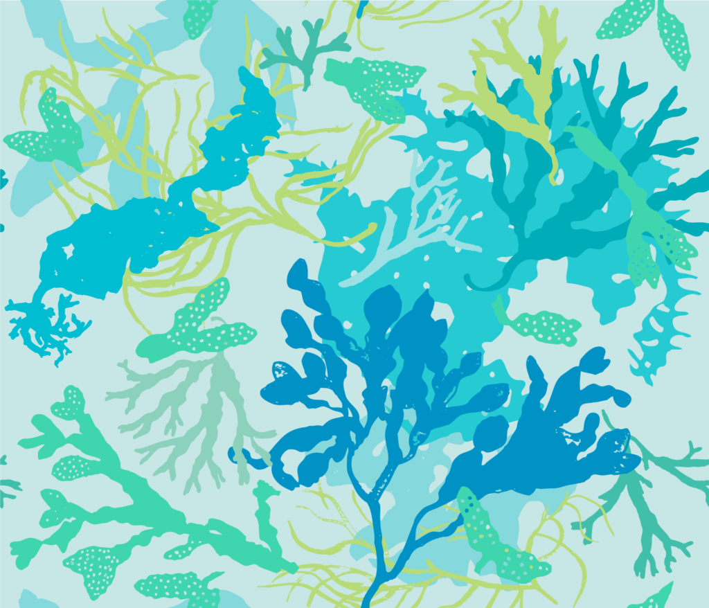 botanical beach seaweed blue fabric design