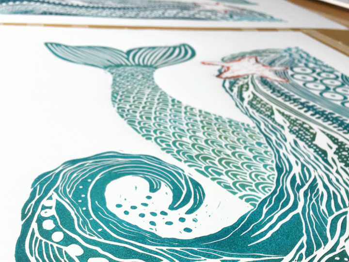 detail of memaid hair handprinted original ocean art