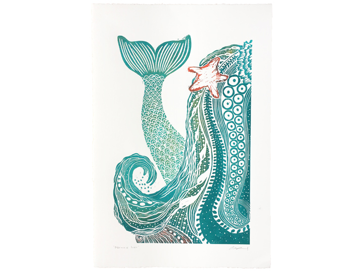mermaid hair linocut art print