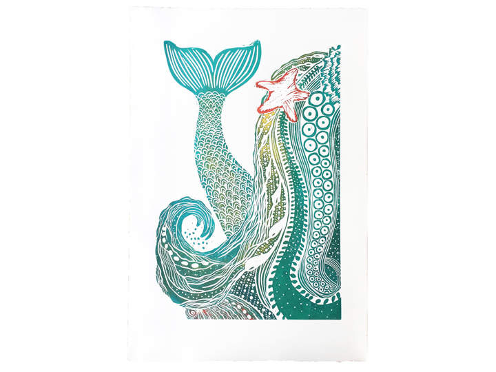 mermaid hair westcoast seaweed botanical art print