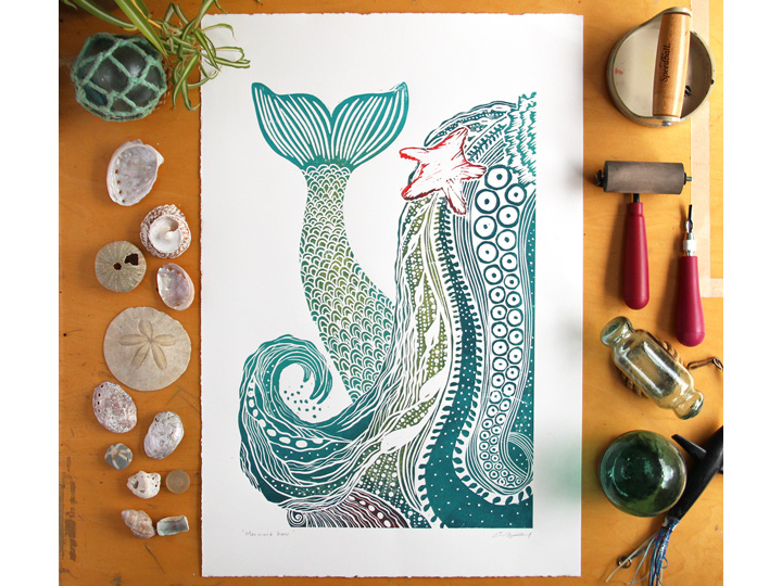 Mermaid hair, ocean inspired westcoast art, handprinted linocut blockprint on paper with coastal decor vibe