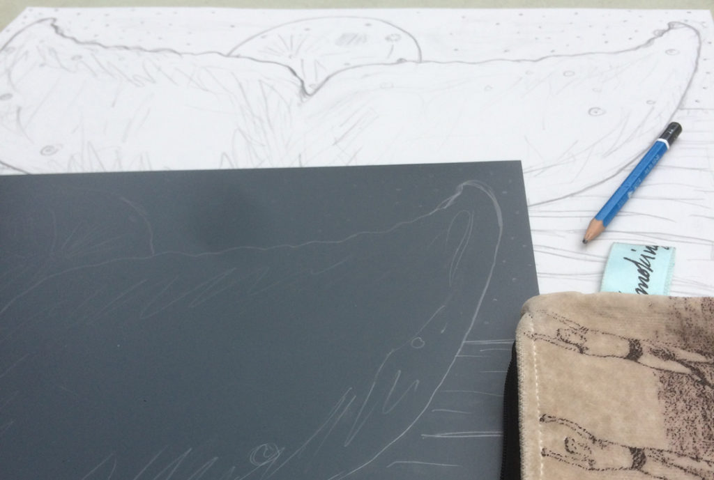 linoblock full moon whale tail sketch