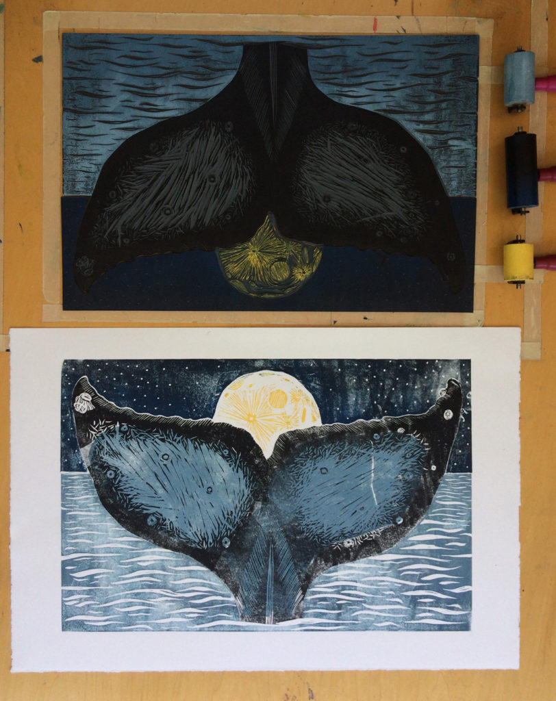 moon whale linocut colour test