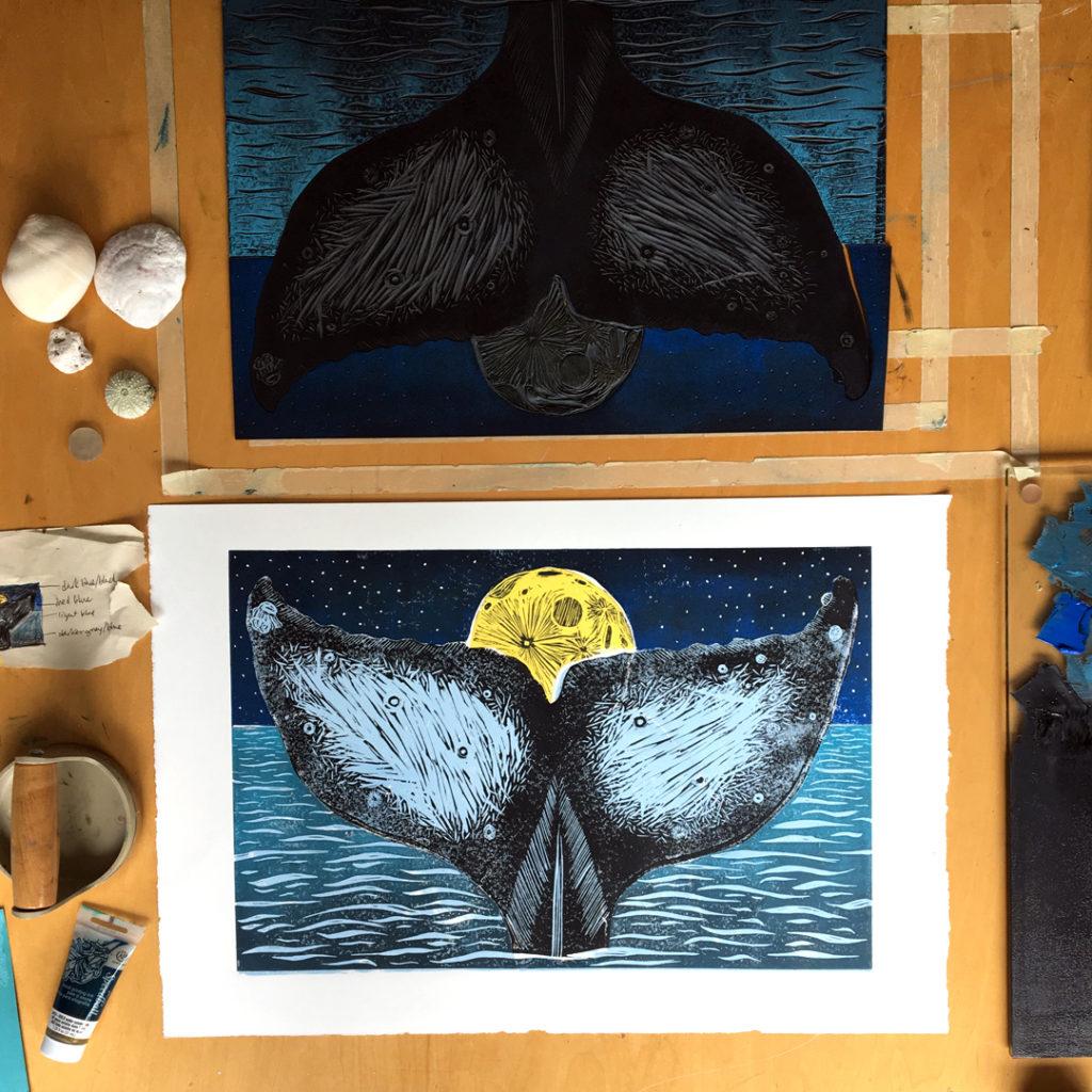 moon whale tail colour print