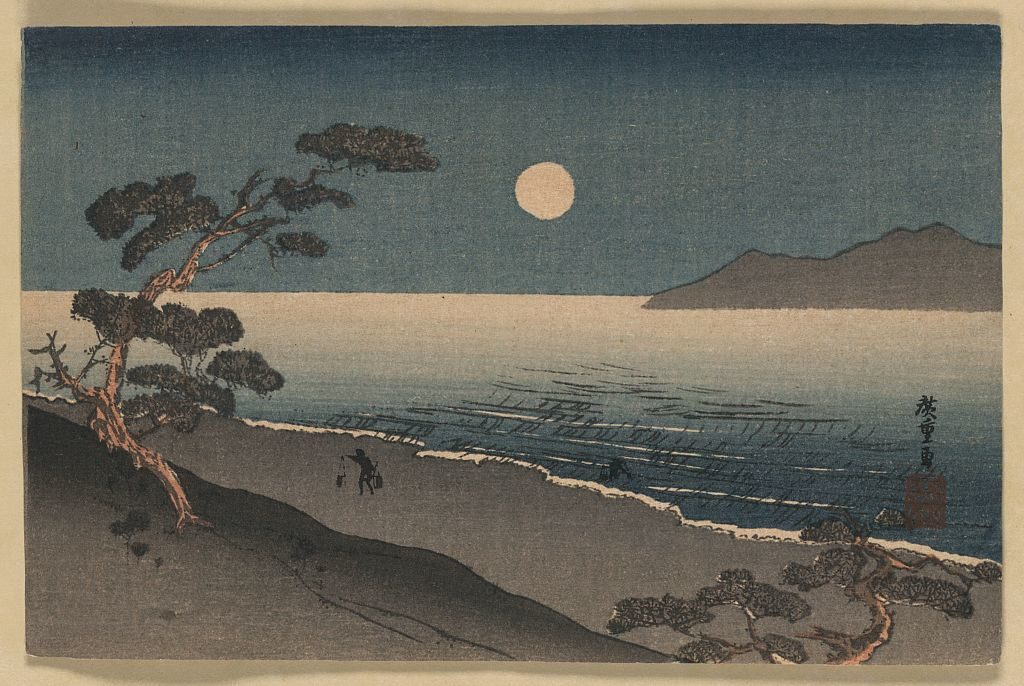 a fairy moon and a lonely shore ukiyo-e japanese woodblock print