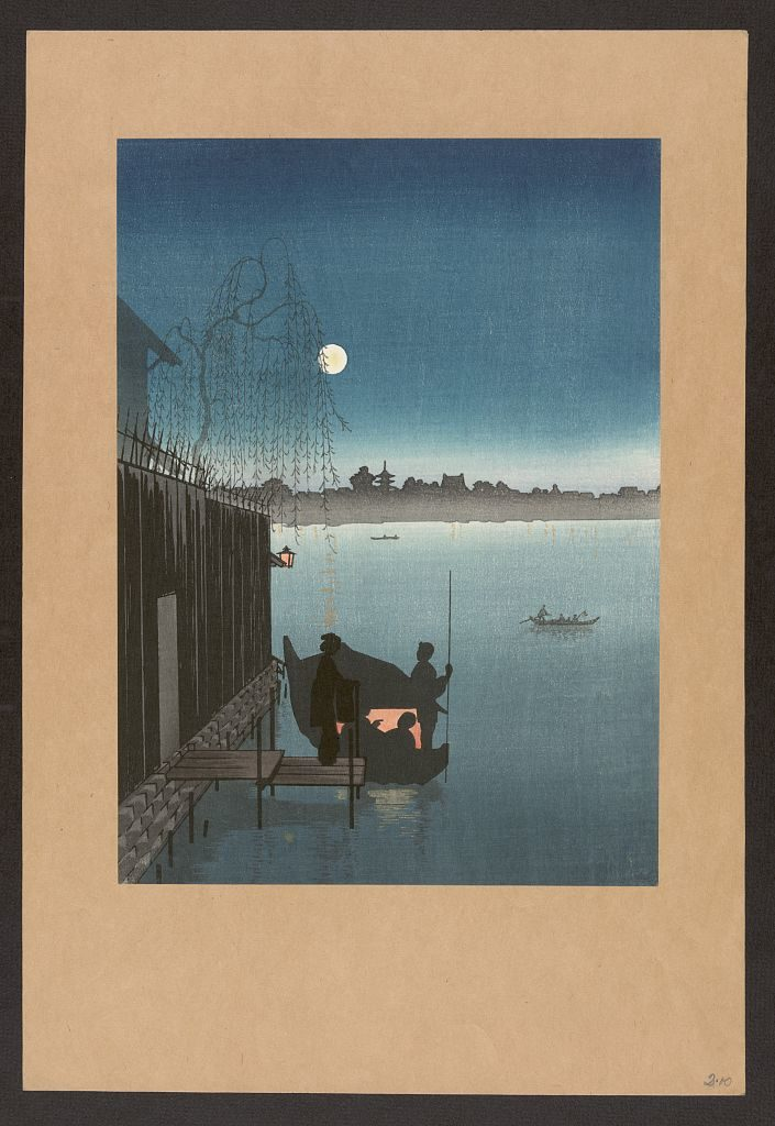 ukiyo-e japanese woodblock of fishermen at night